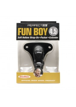 "Perfect Fit - Fun Boy 4.5"" Soft Hollow Strap On Black"