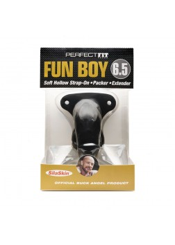 "Perfect Fit - Fun Boy 6.5"" Soft Hollow Strap On Black"