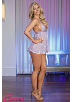 Exposed M109 Lavender Lace Babydoll and G-Set