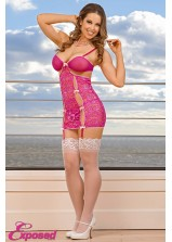 Exposed - B416 Peek a Bow Chemise & G-String Set Pink - Queen