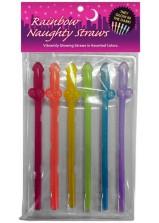 Rainbow Naughty Straws Glow In the Dark 6pc