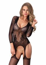 Leg Ave - Lace Net Suspender Bodystocking 89173 - OS