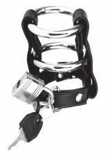 C & B Gear - Double Metal Cock Ring w/ Locking Ball Strap