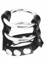 C & B Gear - Double Metal Cock Ring w/ Adjustable Snap Ball Strap