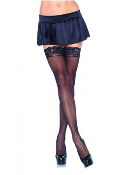 Leg Ave - Nylon Sheer Thigh-Hi With Lace Top 1011- Black - OS