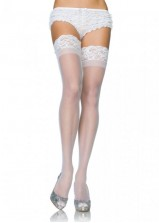Leg Ave - Stay Up Sheer Thigh Highs 1022 - White - Queen
